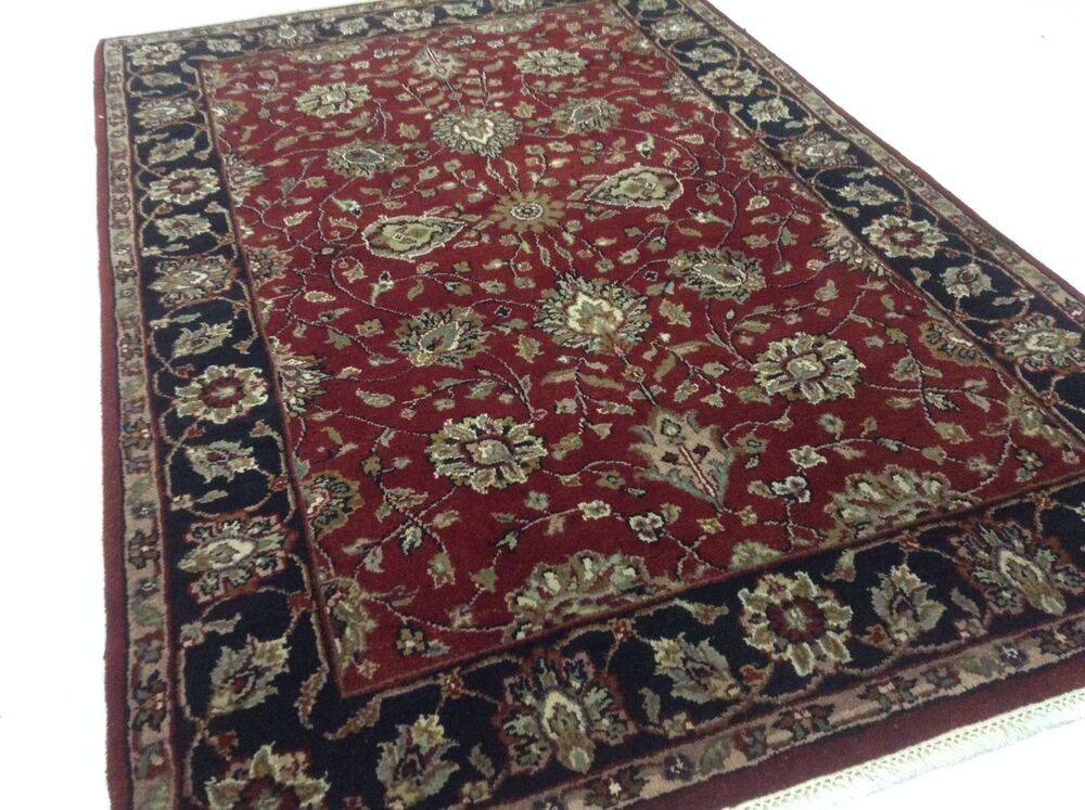 4 X 6 Agra Black Burgundy Persian Oriental Rug New Hand