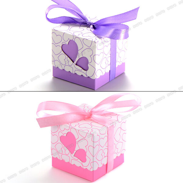 Wedding Gift Boxes Ebay : ... Heart Candy Boxes Wedding Favor Party Gift Boxes With Ribbons eBay