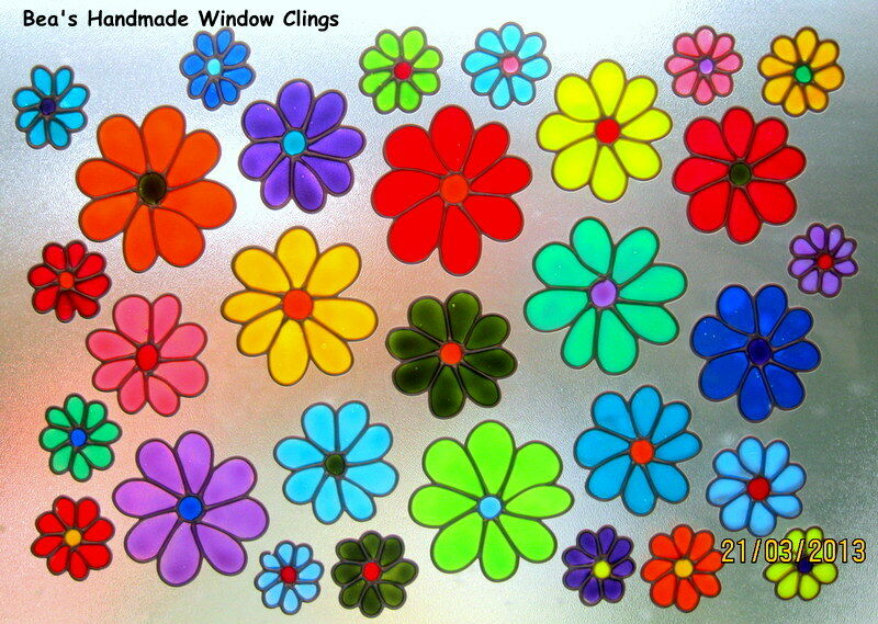 ~BEA'S FUNKY DAISIES STAINED GLASS EFFECT WINDOW CLING~   eBay