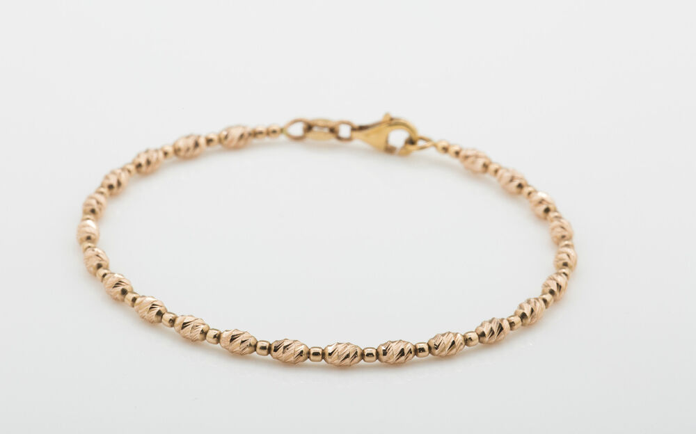solid 14k gold cut bead bracelet made in