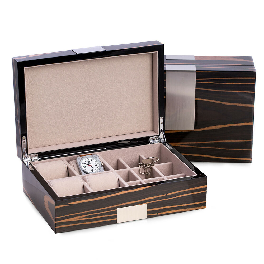 Mens gifts ramsgate watch box cufflink box valet for Men s jewelry box for watches and cufflinks