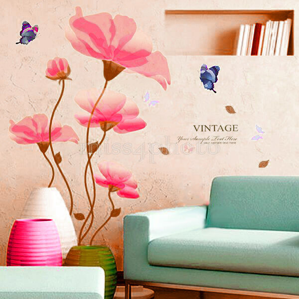 Removable butterfly flowers pvc mural art decal wall for Diy mural painting