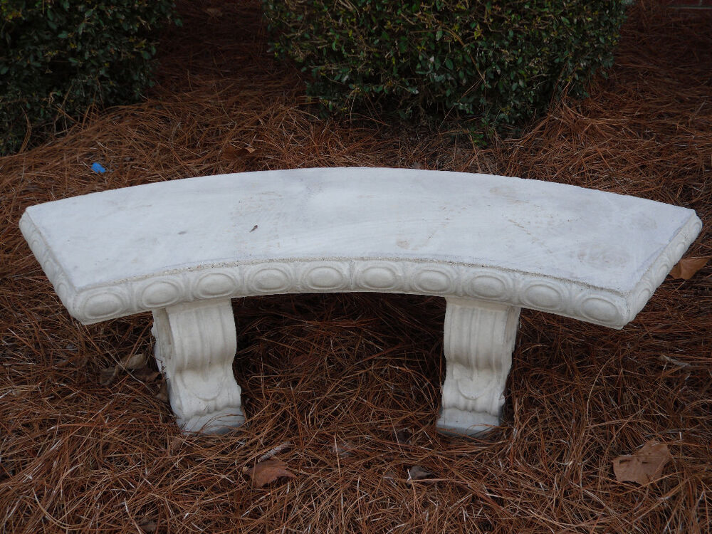 48 Curved Concrete Bench With Legs Scroll Design Ebay