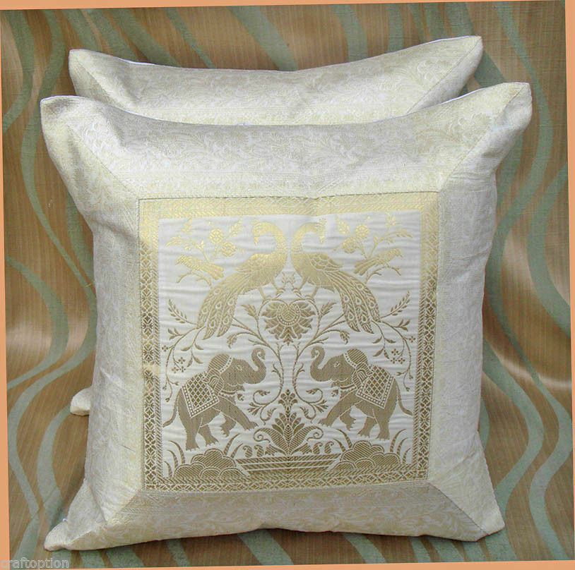 PAIR (TWO) OF SILK BROCADE PILLOW/CUSHION COVER WHITE