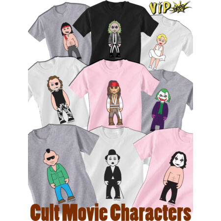 img-VIPwees Childrens T-Shirt Cult Movie Characters Caricatures Choose Your Design