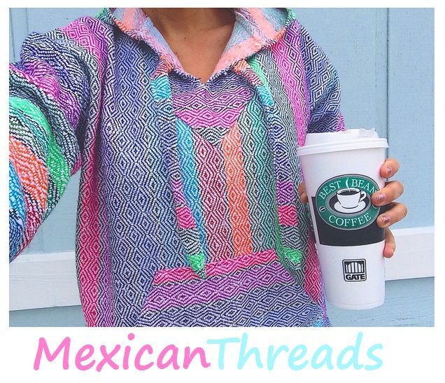Baja Hoodie Mexican Drug Rug Jacket Pink Purple Blue Multi