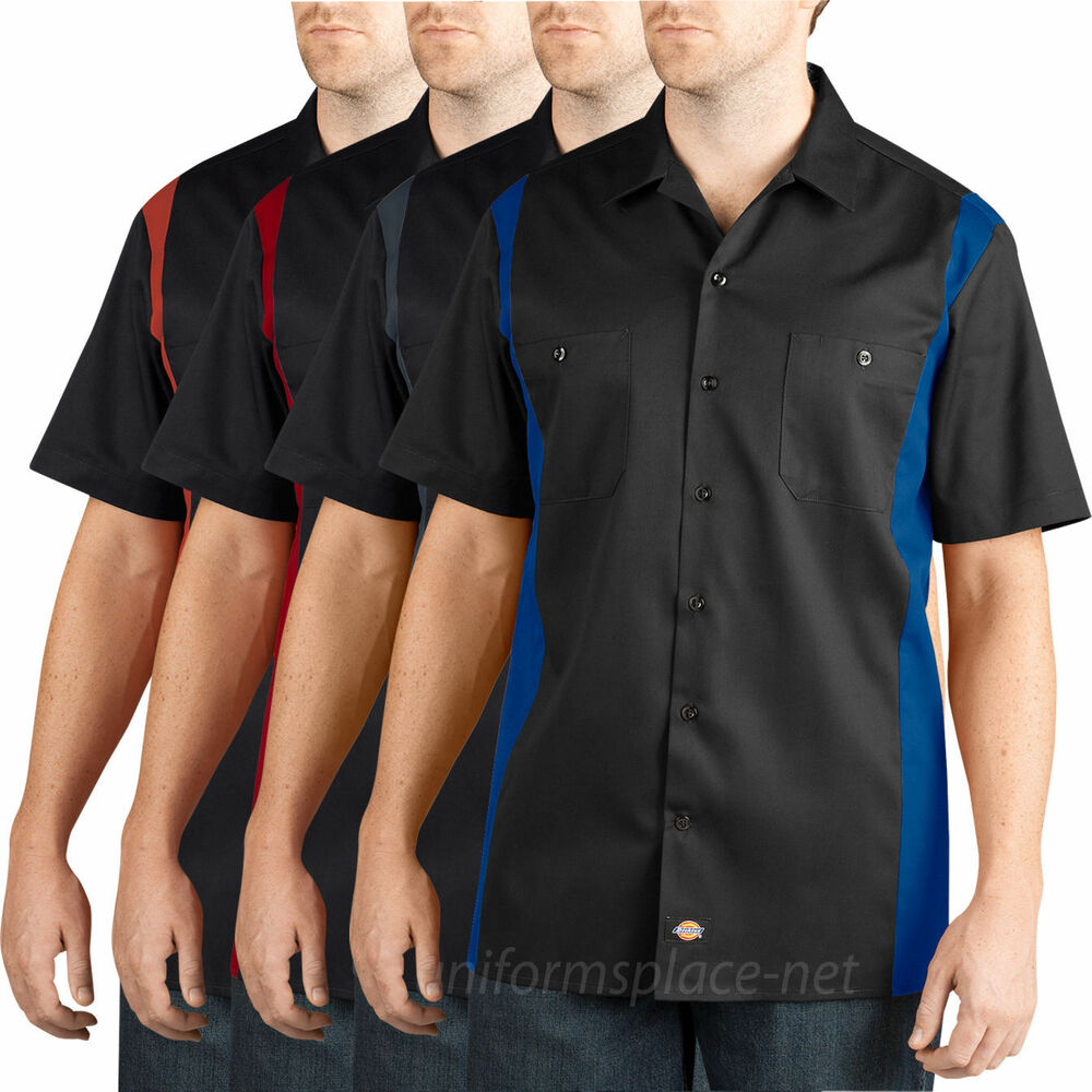 Dickies Work Shirts Men Short Sleeve Two Tone Color Button