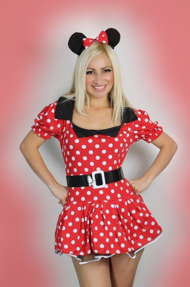 damen minnie maus kost m sexy rotes kost m outfit gr en 36 42 ebay. Black Bedroom Furniture Sets. Home Design Ideas