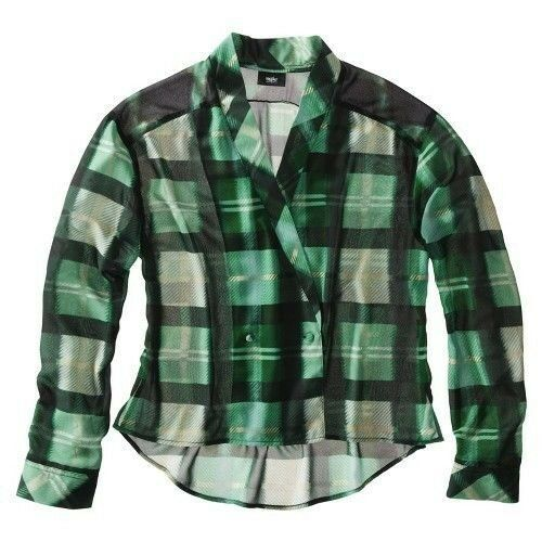 Womens mossimo green plaid blazer blouse top sheer shirt for Womens green checked shirt