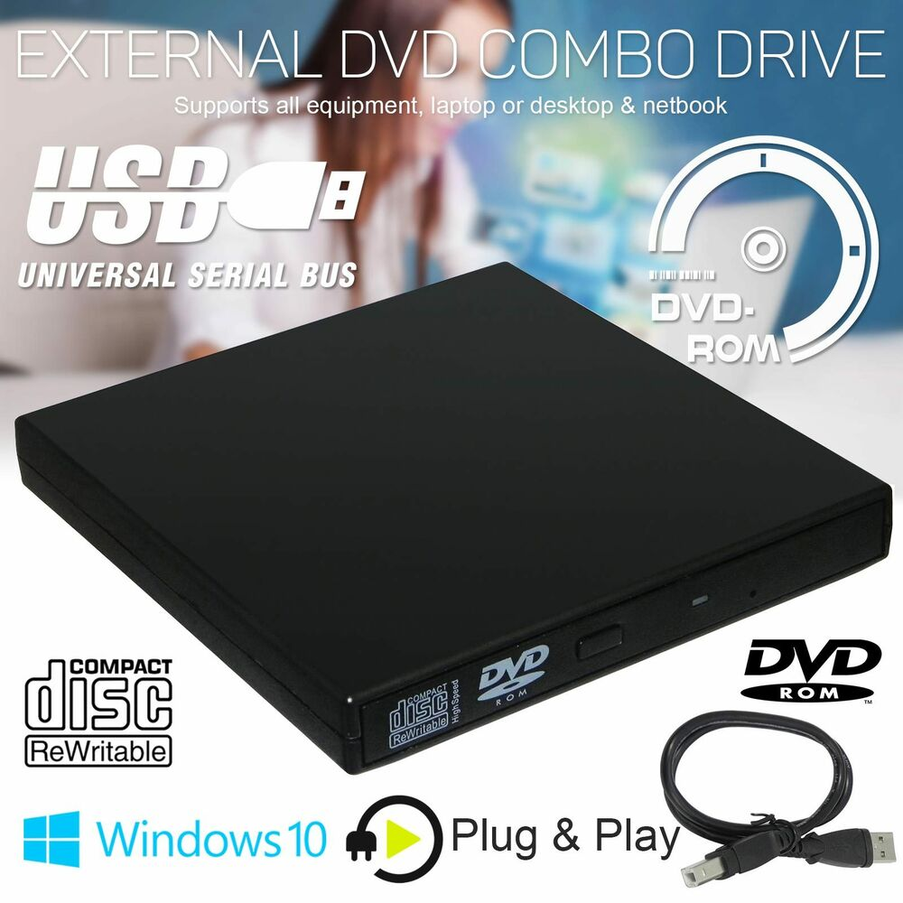 UK Portable USB 2.0 External CD/DVD ROM Drive Player For ...