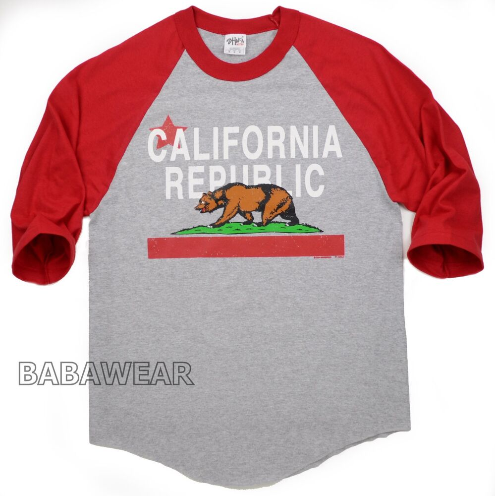 california bear baseball raglan t shirt cali vintage look red gray b2 baba ebay. Black Bedroom Furniture Sets. Home Design Ideas