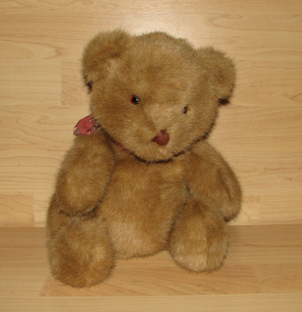 11 1990 DAKIN TEDDY BEAR PLUSH BROWN Red Bow For Cuddling