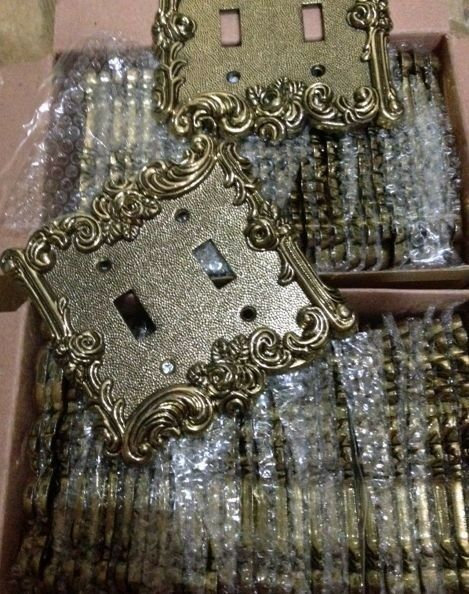 56brass Gold Cast Victorian Rose Vine Outlet Switch Plate