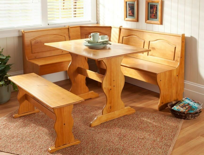 Corner furniture table bench dining set breakfast kitchen nook solid pine wood ebay - Kitchen corner nooks ...