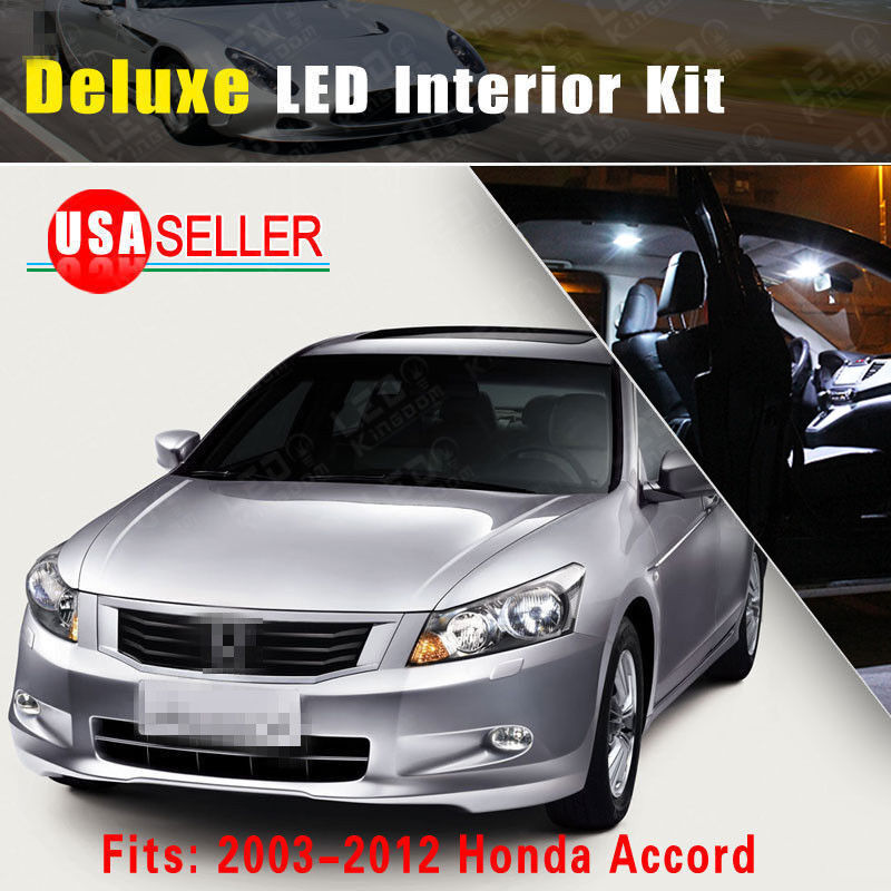 14 x deluxe white 2003 2012 for honda accord interior led light bulb package kit ebay. Black Bedroom Furniture Sets. Home Design Ideas