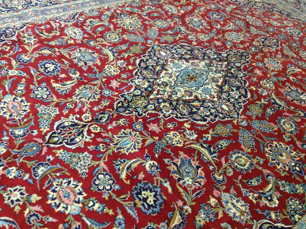 10 X 14 Red Navy Persian Kashan Oriental Area Rug Large
