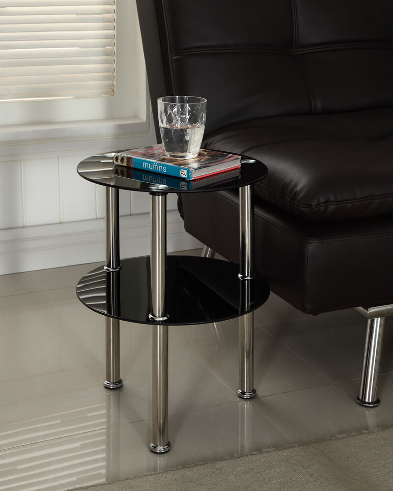 Black Or Clear Glass 2 Tier Side End Table Chrome Finish Modern Design Coffee Ebay