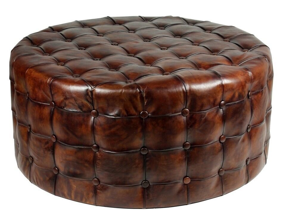 36 Round Ottoman Top Grain Tufted Buttery Leather Vintage
