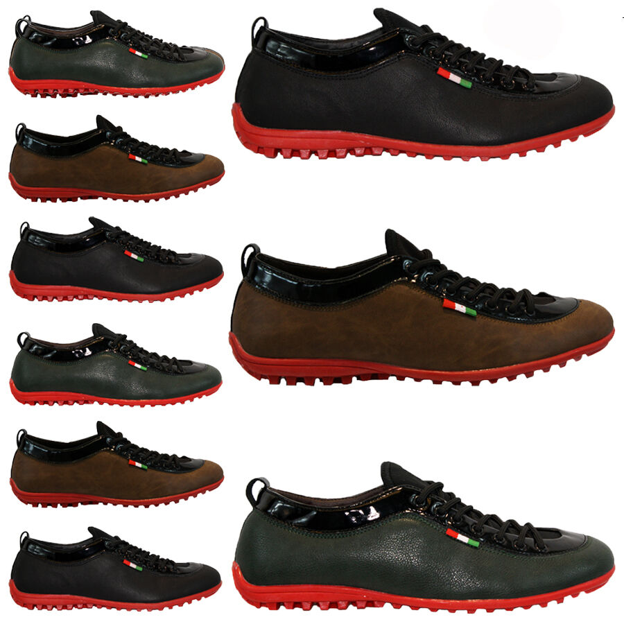 mens leather look designer shoes italian fashion casual
