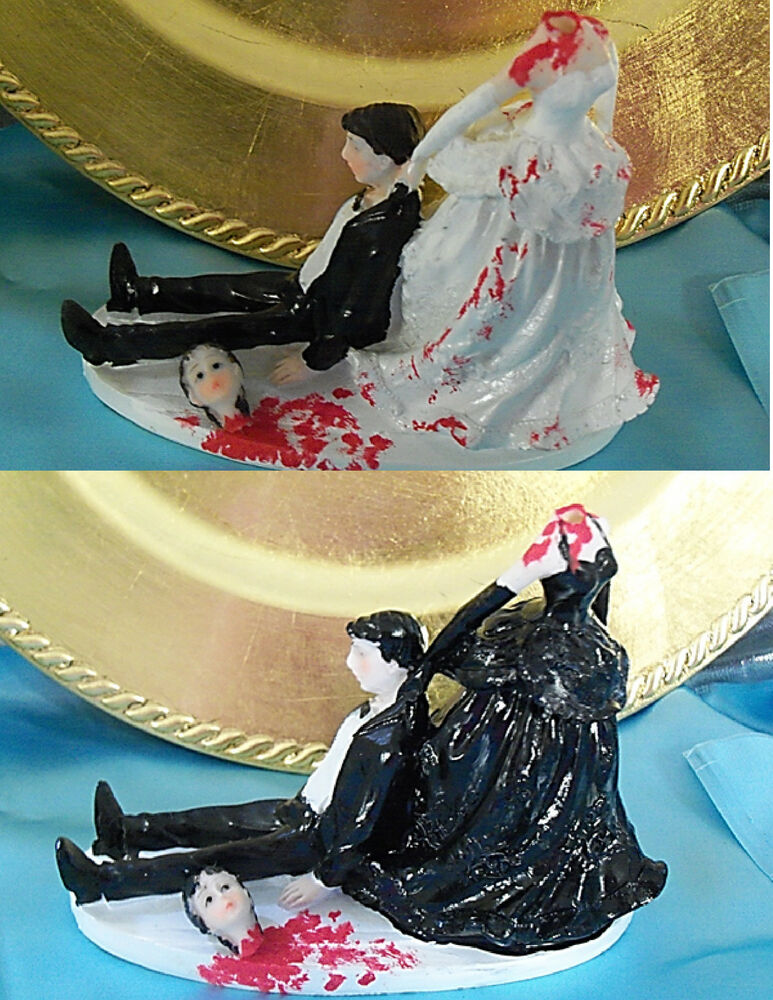 Halloween Goth Scary Wedding Cake Topper Headless Woman Skull Death Gothic De