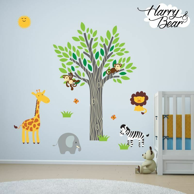 Sunshine Jungle Animal Nursery Vinyl Wall Stickers Kids