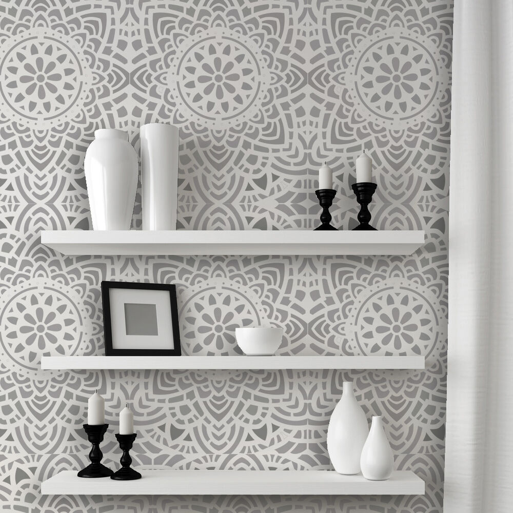 Wall lace decorative stencil madalyn allover reusable for for Stencil wall art