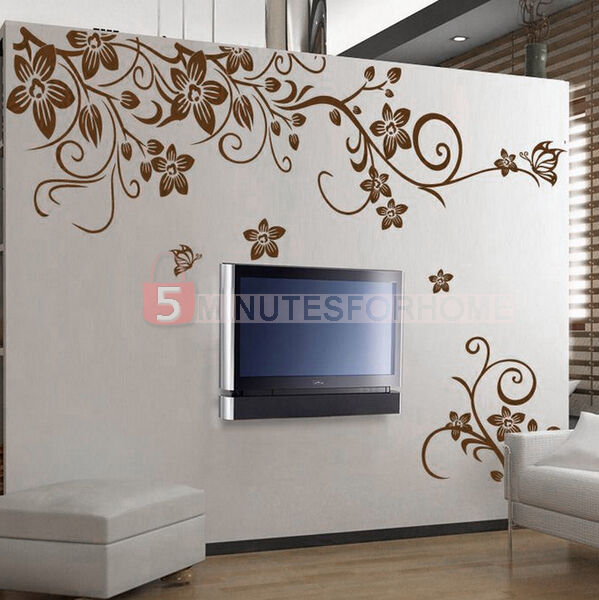 Floral flower removable pvc room wall sticker art mural for Decorazioni muro cucina