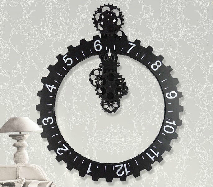 Big wheel modern mechanical gear operated vintage wall for Modern home decor gifts