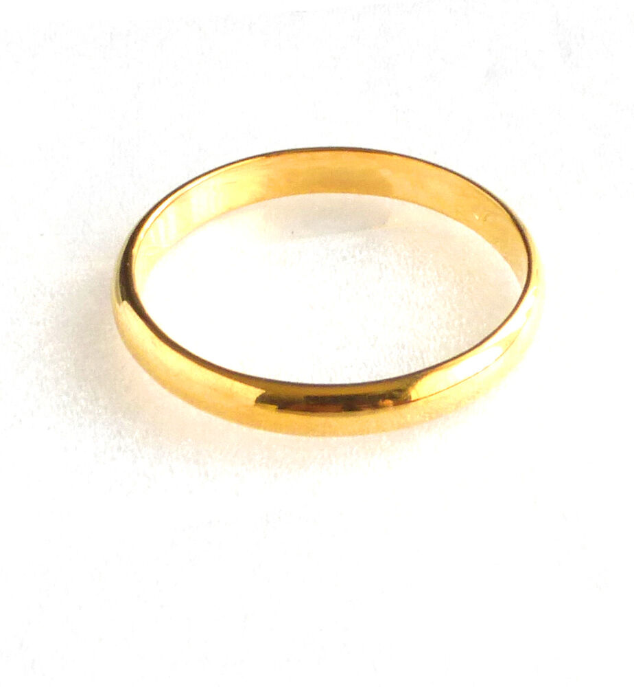 Fashion1uk 24k yellow gold plated band ring classic for 24k gold wedding ring