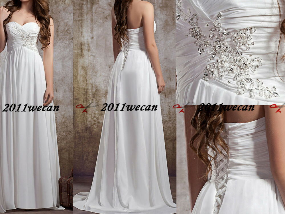 White ivory chiffon vintage sweetheart wedding dress stock for Ebay wedding dresses size 12