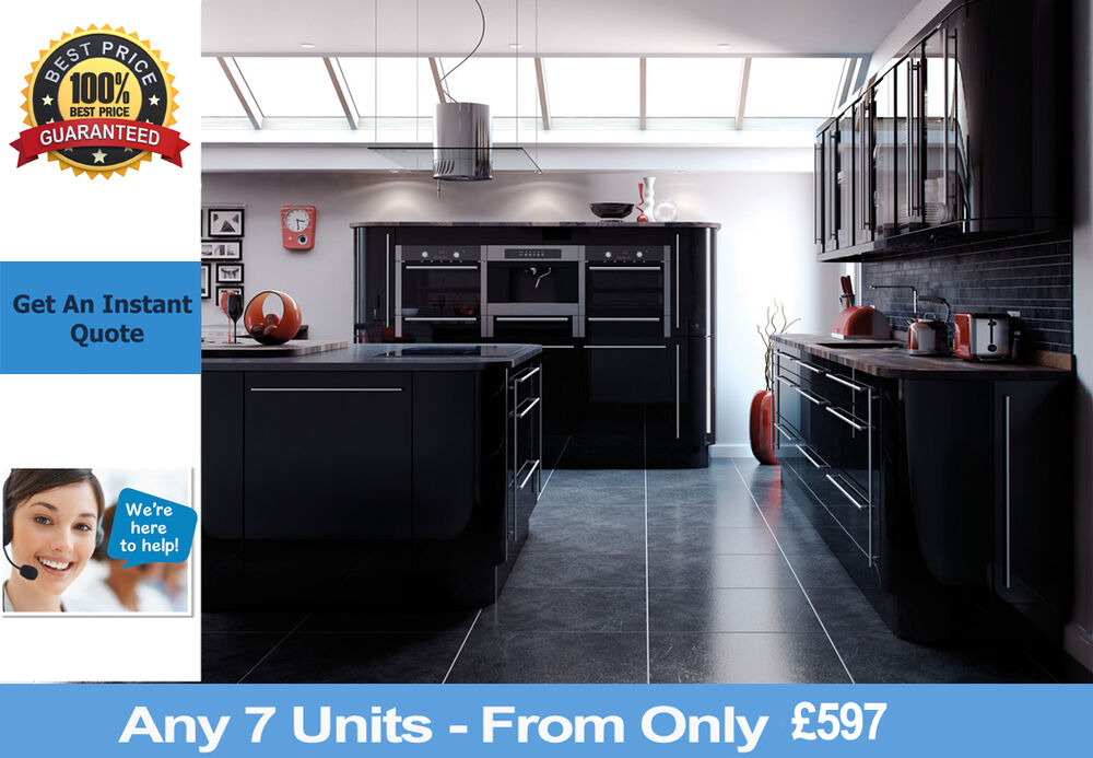 Fitted complete kitchens for sale black gloss rigid for Black kitchen cabinets for sale