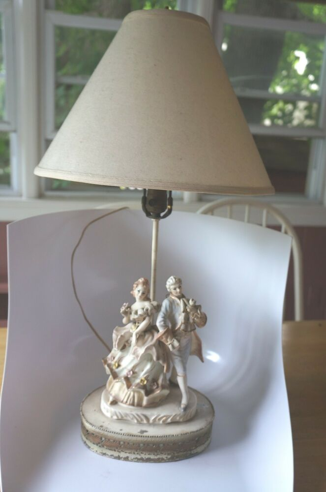 Vintage French Provincial Style Lamp Base With Male Female Couple Ebay