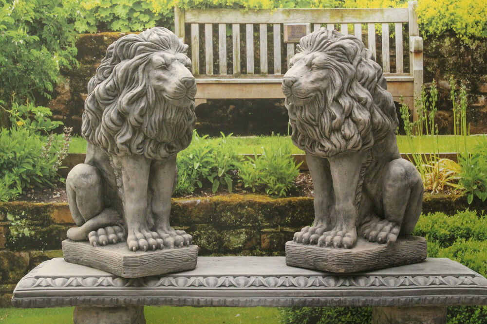 Granite Lawn Ornaments : Two stone stunning lion garden ornament statues ebay