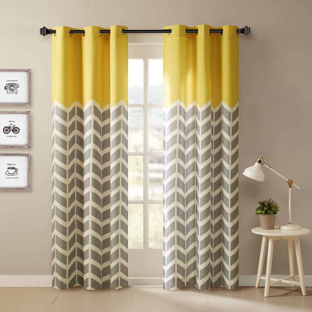 BEAUTIFUL MODERN GREY YELLOW CHEVRON AQUA BLUE 63 84