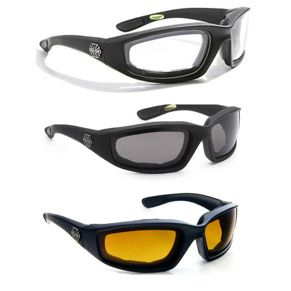 3 pair combo chopper padded wind resistant sunglasses