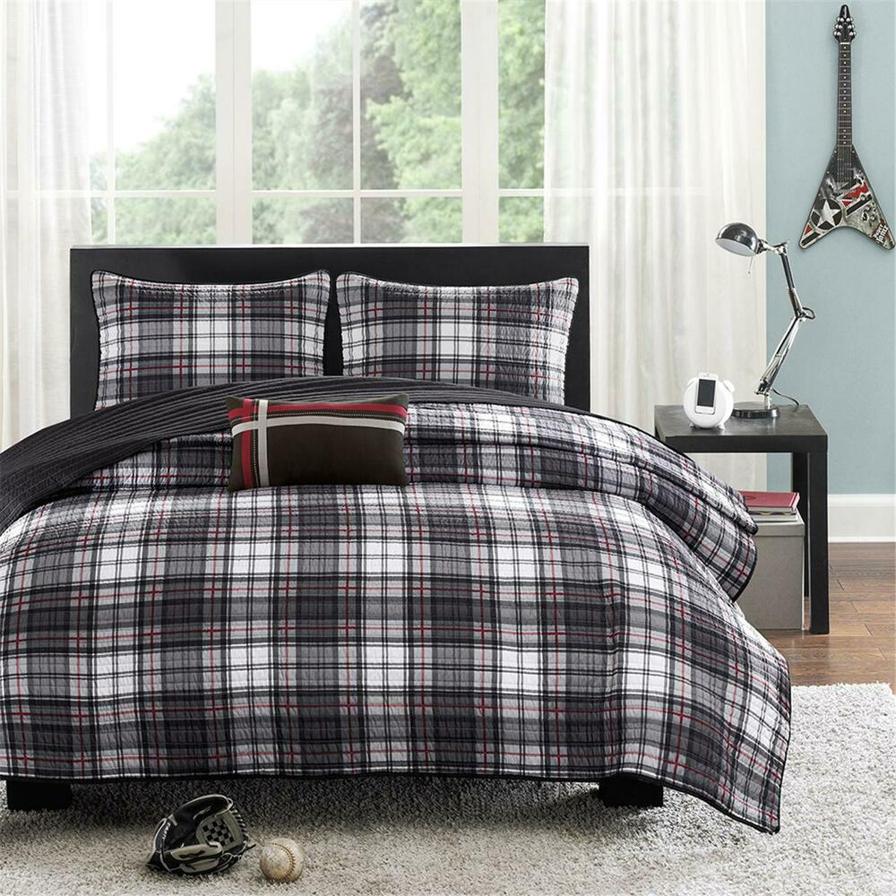 Modern Black Grey Red White Plaid Stripe Boy Cozy