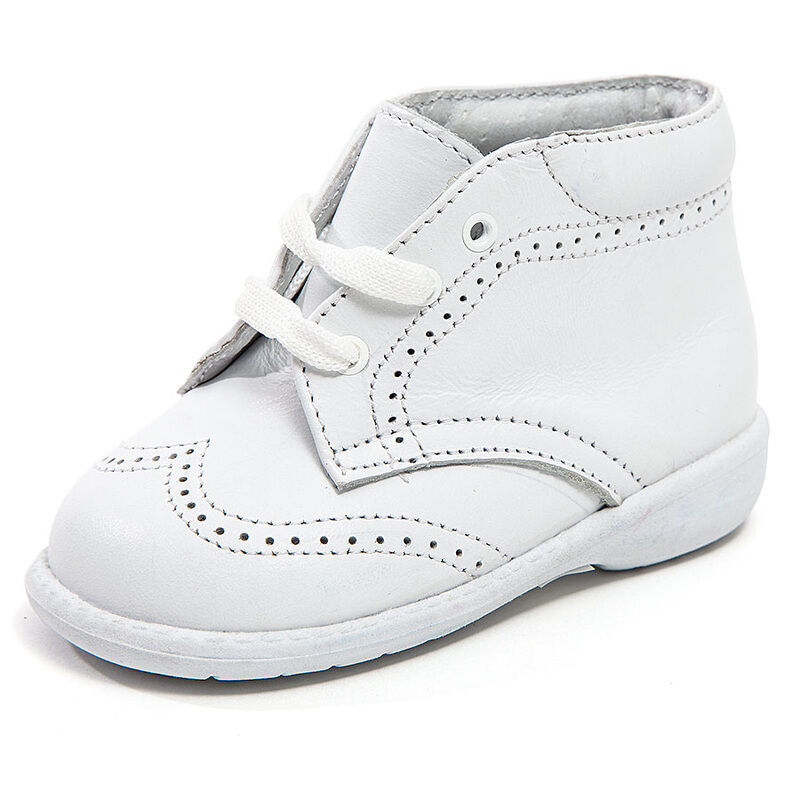 baby boy white leather high top shoes with laces stitch