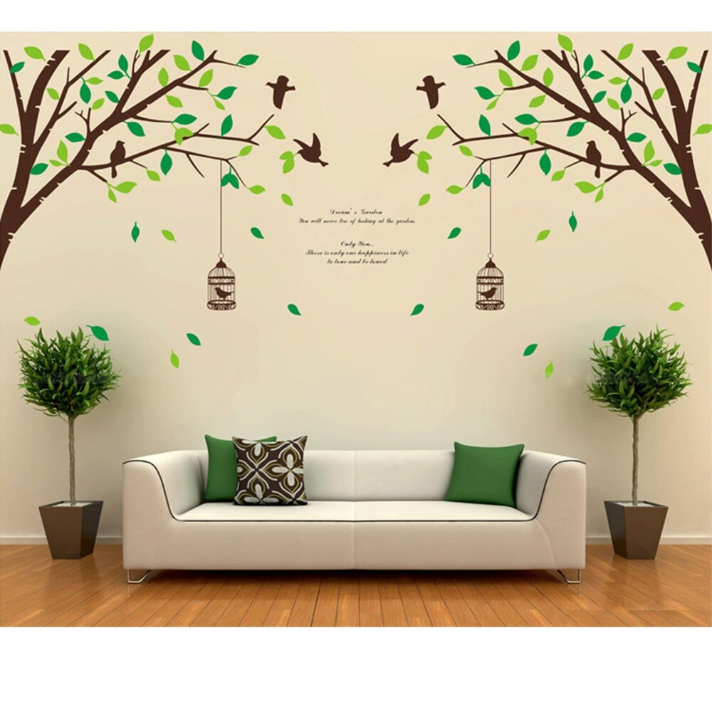 Tree bird removable room vinyl decal art wall home decor for Diy photo wall mural