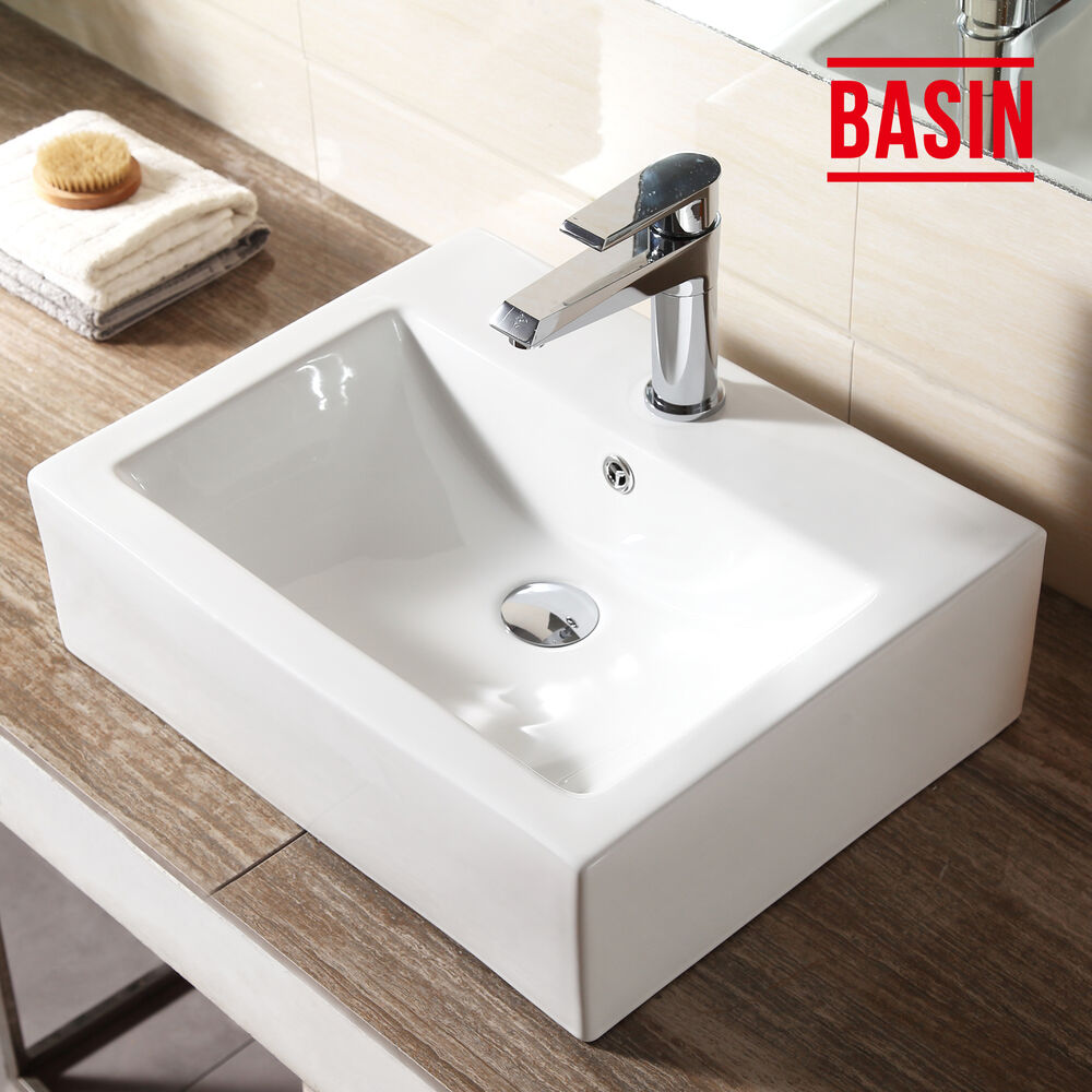 White Rectangle Countertop Basin Sink Unit Wall Ceramic Suit Bathroom Cloakroom Ebay