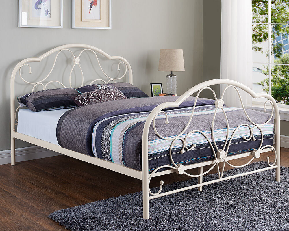 White metal bed double king size frame and with memory for Designer king size beds