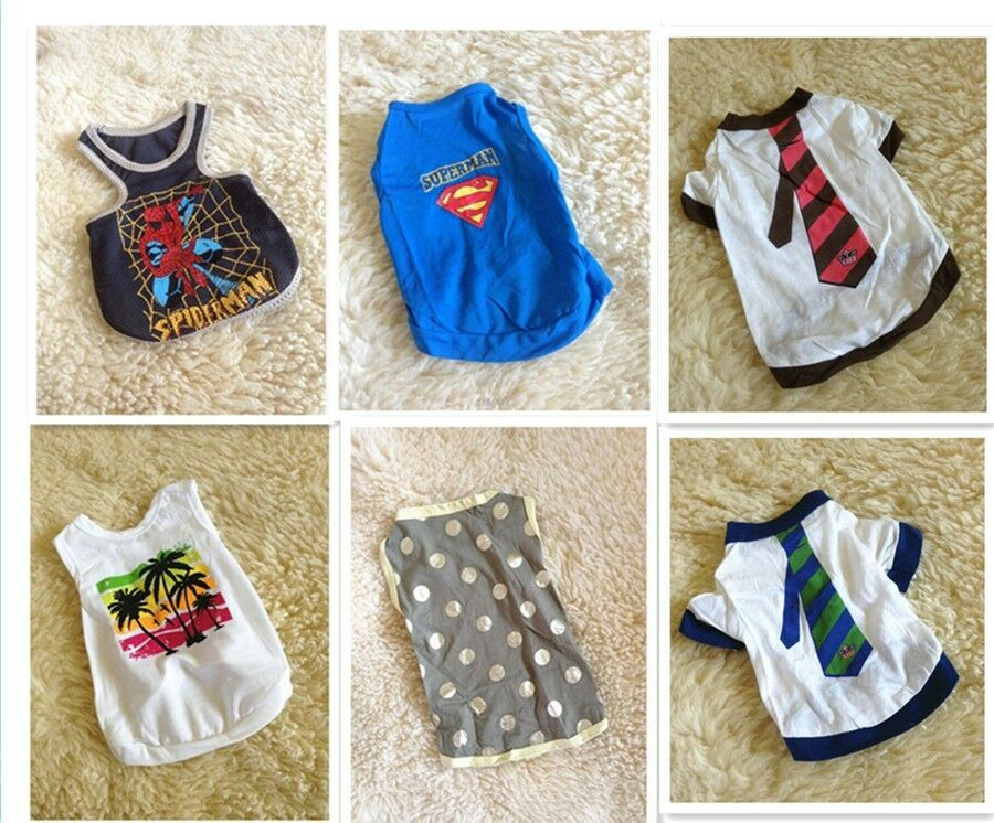 Cute summer small pet dog clothes t shirt shirts apparel for Dog t shirt for after surgery