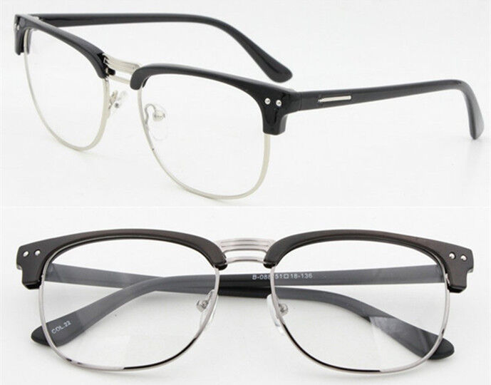 Rimless Geek Glasses : Fashion Hipster Retro Classic Semi-Rimless glasses Clear ...