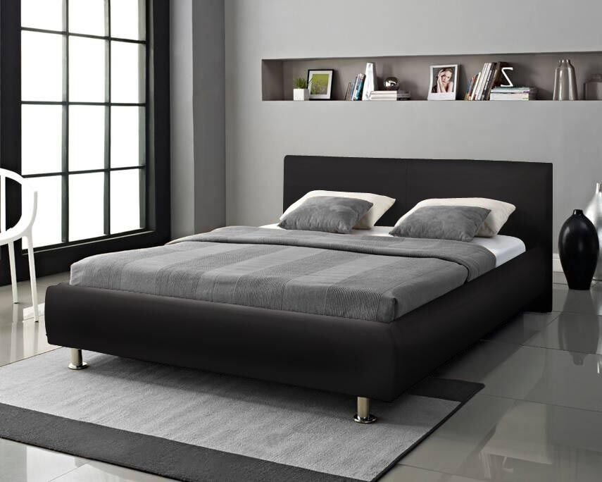 Designer Bed Double King Size Black White Faux Leather