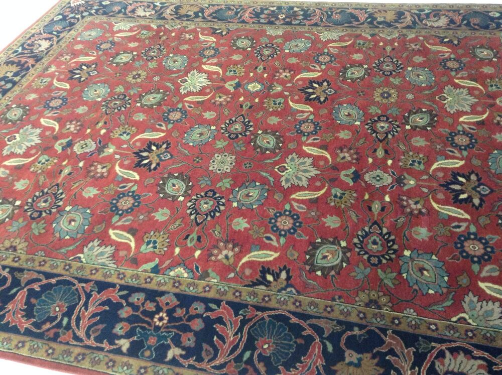 8 X 10 Persian Oriental Area Rug Red Navy Hand Knotted