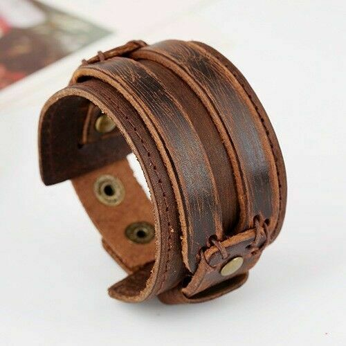 lederarmband vintage herren breit surfer armband echt leder schwarz braun neu ebay. Black Bedroom Furniture Sets. Home Design Ideas