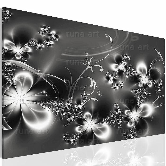 bilder leinwand bild 1005137b blumen kunstdruck kreativ deko schwarz wei 1tlg ebay. Black Bedroom Furniture Sets. Home Design Ideas