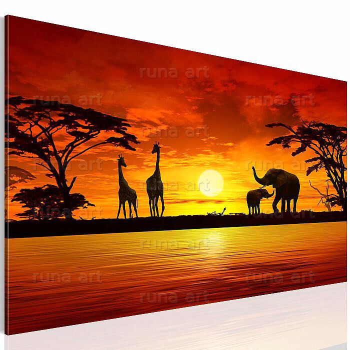 bilder leinwand bild 0002137a sp afrika kunstdruck landschaft 1tlg ebay. Black Bedroom Furniture Sets. Home Design Ideas