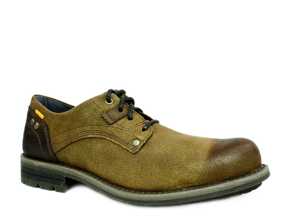 Caterpillar RUSK Mens Oxford Work And Casual Dark Beige Leather Shoes | EBay