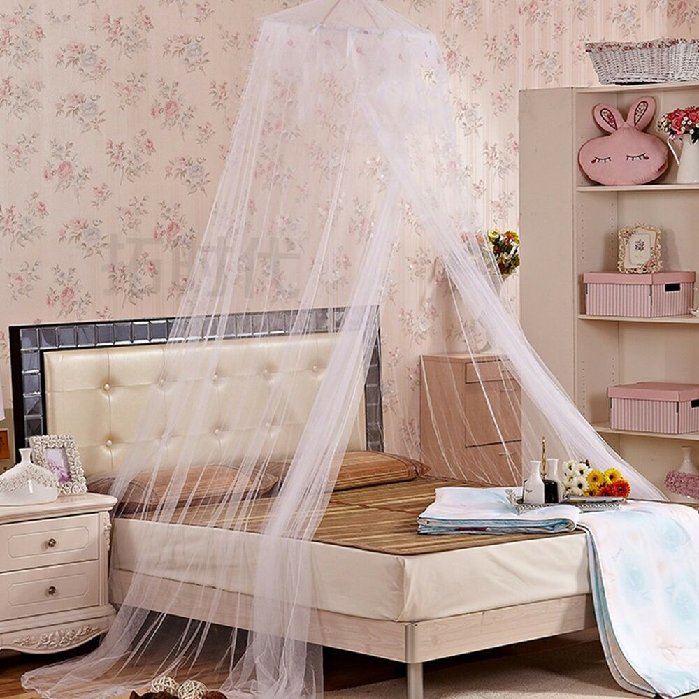 Canopy Bedroom Curtains: Pink/White Round Lace Curtain Dome Bed Canopy Netting