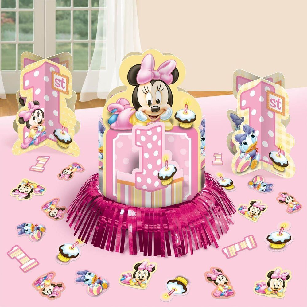 Baby minnie mouse 23pc decoration kit centerpiece confetti for Baby minnie mouse party decoration